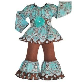 AnnLoren Girls' Boutique Cotton Dutch Lattice 2-piece Outfit