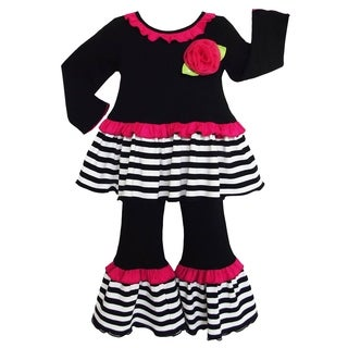 AnnLoren Boutique Girls' Jersey Knit Cotton Stripe Outfit