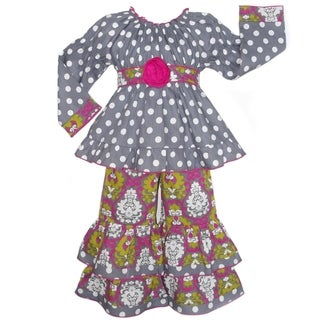 AnnLoren Boutique Girls' Grey Polka Dots and Pink Darling Damask Outfit