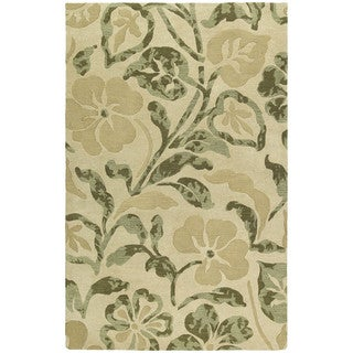 """Handmade Calais Lily In The Valley Beige Wool Rug (9'6"""" x 13'0"""")"""