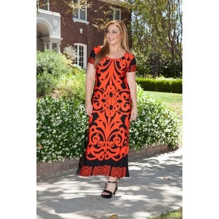 White Mark Women's Plus Size Red/ Black Pattern Maxi Dress