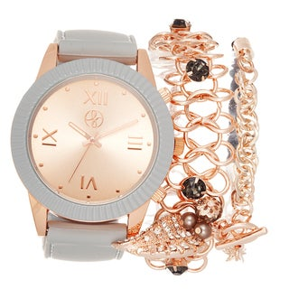 Fortune NYC Arm Candy Ladie's Fashion Grey Silicone Watch with a Set of 2 Bracelets