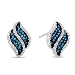 Sterling Silver 1/3ct TDW Blue and White Diamond Swirl Stud Earrings (H-I, I1-I2)
