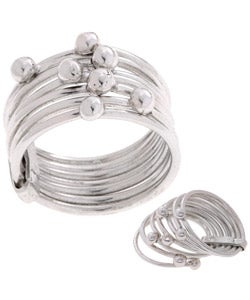 Journee Collection Sterling Silver Beaded Multi-band Ring