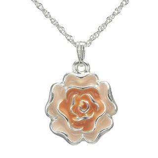 Jewelry by Dawn Orange Enamel Flower French Rope Chain Necklace