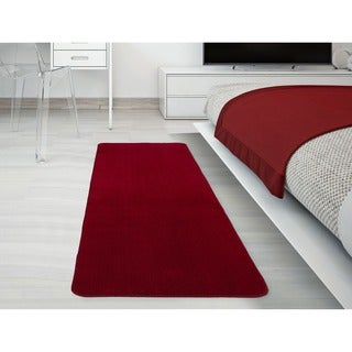 Softy Collection Red Solid Machine-washable Non-slip Bathroom Mat Rug