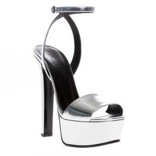 Gucci Metallic Silver Leather Platform Sandals