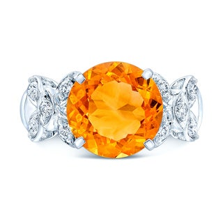 14k White Gold Citrine and 1/3ct TDW Diamond Ring (H-I, SI1-SI2) (Size 7)