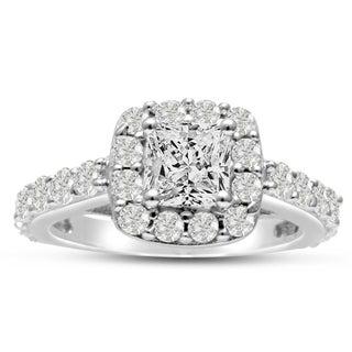 14k White Gold 2ct Princess-cut Certified Halo Diamond Engagement Ring (I-J, I1-I2)