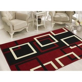 Dark Red Modern Boxes Design Area Rug (8'2 x 9'10 )