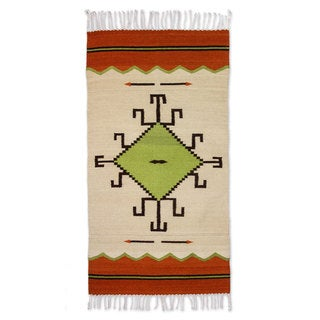 Handcrafted Wool 'Spider Sun' Zapotec Rug 2.5x5 (Mexico)