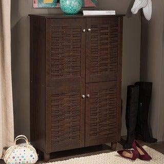 Rhodes Dark Brown Shoe Cabinet With 4 Doors