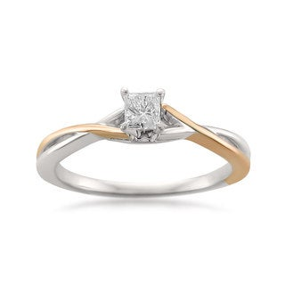 14k Two-tone Gold 1/4ct TDW Princess-cut Solitaire Engagement Ring (H-I, I1)
