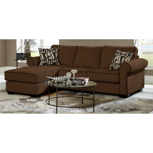 Chocolate Chenille Sofa Chaise Sectional Overstock Shopping Big Discounts On Sectional Sofas