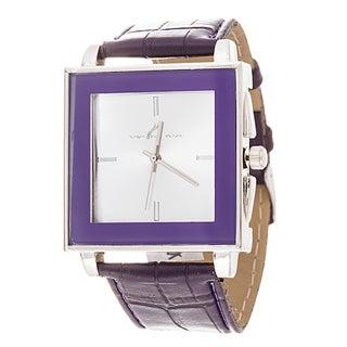 Via Nova Women's Square Silver Case Purple Leather Strap Watch
