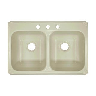 Lyons Deluxe Dual Bowl Acrylic 10-inch Deep Acrylic Kitchen Sink With Three Faucet Holes