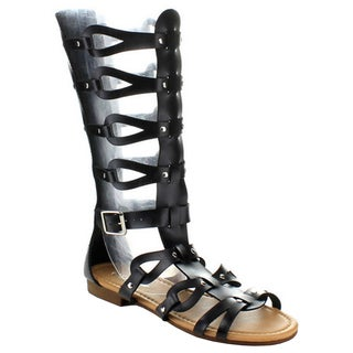Coshare Women's Fashion Atta-07 Leather PU Gladiator Upper Flat Sandals