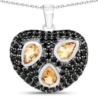 Malaika Malaika Sterling Silver 3ct Citrine and Black Spinel Heart-shaped Necklace