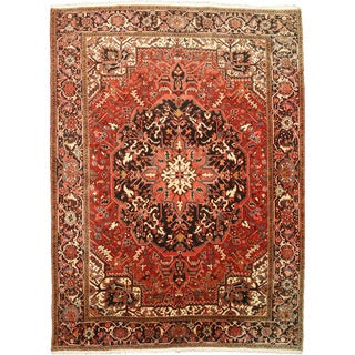 EORC X29897 Rust Hand-knotted Wool Heriz Area Rug (9'9 x 12'6)