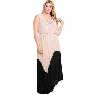 Shop The Trends Women's Plus Size Sleeveless Two-tone Maxi Dress with Ruffled Detail Along Lace-up Neckline