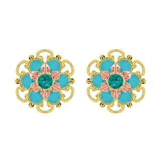 Lucia Costin Gold Over Silver Green Turquoise Crystal Stud Earrings