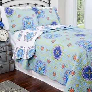 Slumber Shop Candella Blue Reversible 3-piece Quilt Set