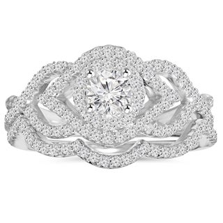Bliss 10K White Gold 1 ct TDW Diamond Intertwined Engagement Matching Wedding Ring Set (H-I, I1-I2)