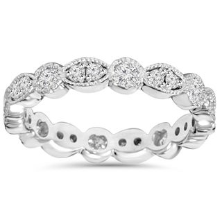 Bliss 14K White Gold 1.00ct TDW Round Diamond Eternity Anniversary Stackable Wedding Ring (H-I, I1-I2)