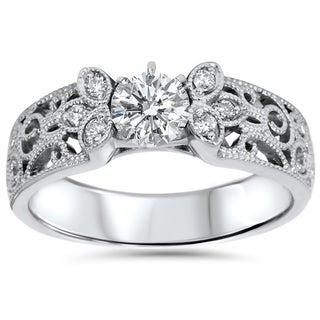 Bliss 14k White Gold 1/2CT TDW 2mm Vintage Diamond Engagement Ring (H-I, I1-I2)