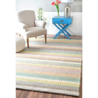nuLOOM Handmade Cotton Chenille Striped Wool Braided Cable Rug (6'7 x 9'11)