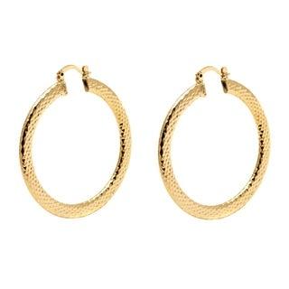18k Goldplated 50mm Gold Diamond-cut Hoop Earrings
