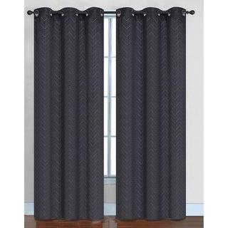 Chevron Faux Silk Blackout Grommet Top 84-inch Curtain Panel Pair