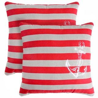Slumber Shop Anchor Stripe Decorative 18-inch Throw Pillow (Set of 2)