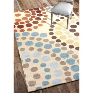 nulOOM Hanmade Modern Abstract Rings Beige Rug (8'6 x 11'6)