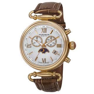 Akribos XXIV Women's Swiss Quartz Chronograph Multifunction Leather Strap Watch