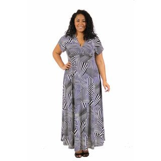 24/7 Comfort Apparel Women's Plus Size Black and White Abstract Wrap Dress