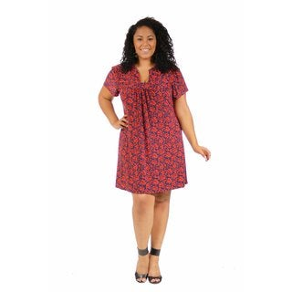 24/7 Comfort Apparel Women's Plus Size Red Floral Classic Dress