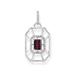 Estie G 18k White Gold One-of-a-Kind Rhodolite Garnet 1/5ct TDW Diamond Geometric Necklace (H-I, VS1-VS2)