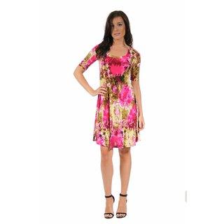 24/7 Comfort Apparel Women's Floral Splatter Pattern Dress