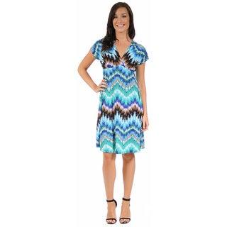 24/7 Comfort Apparel Women's Cool Blue Empire Dress