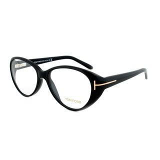 Tom Ford FT5245 001 Black Rounded Eyeglass Frames - Size 53