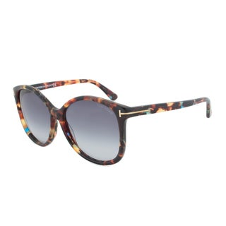 Tom Ford FT0275 55W Alicia Cateye Sunglasses - Havana Frame and Blue Gradient Lens