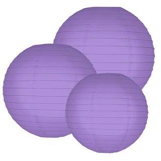 Multi Size Round Paper Lanterns - Purple (Set of 6)
