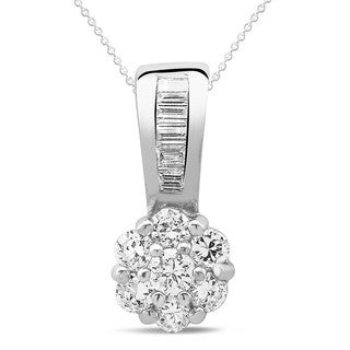 Sterling Silver Cubic Zirconia Drop Down Flower Necklace