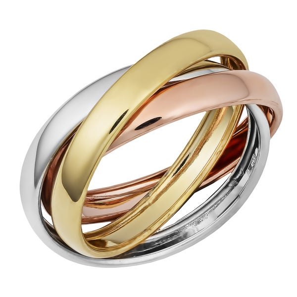 fremada 14k tricolor gold high rolling ring