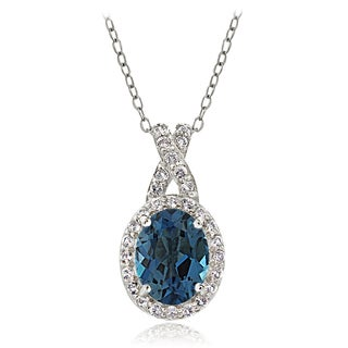Glitzy Rocks Sterling Silver London Blue & White Topaz X and Oval Necklace