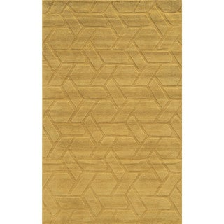 Hand-carved Technique Collection Geometric Wool Accent Rug (9 x 12)