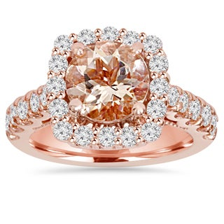 Bliss 14k Rose Gold 3 1/10 ct TW Morganite & Diamond Cushion Halo Engagement Ring (H-I, SI2-I1)