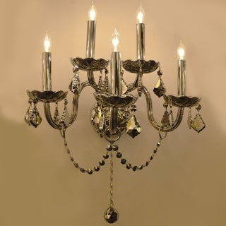 Venetian 5 Light Chrome Crystal Candle Wall Sconce Light