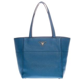 Prada Dusty Blue Grainy Leather Tote